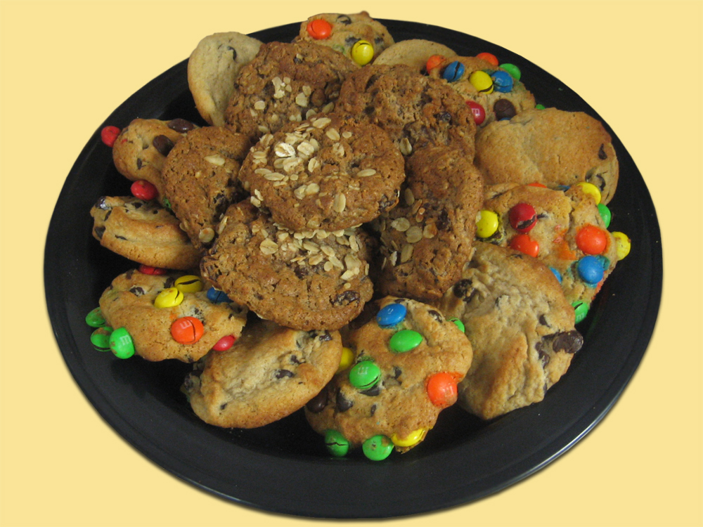 Assortment of Chocolate Chip, M&M and Oatmeal Cookies