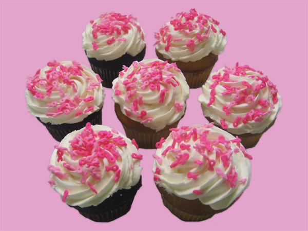 Breast Cancer Awareness – Cupcakes with Ribbon Sprinkles