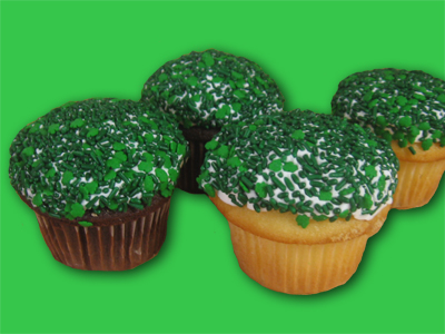 Cupcakes with green Sprinkles