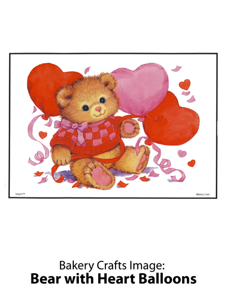 Bakery Crafts Image: Bear with Heart Balloons
