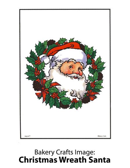 Bakery Crafts Image: Christmas Wreath Santa
