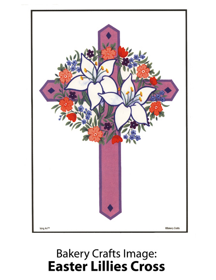 Bakery Crafts Image: Easter Lillies Cross