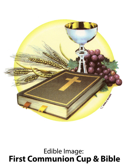 Edible Image ® by Lucks: First Communion Cup & Bible