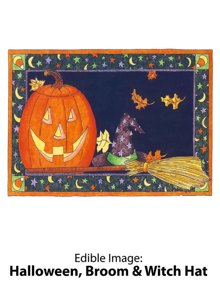 Edible Image ® by Lucks: Halloween, Broom & Witch Hat