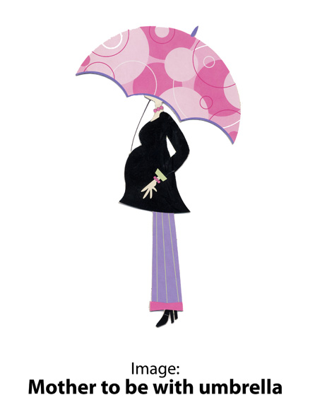 Image: Mother to be with umbrella