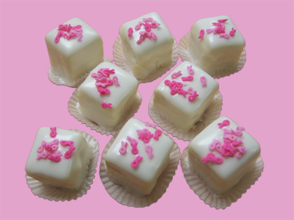 Breast Cancer Awareness – Petit Fours with Ribbon Sprinkles