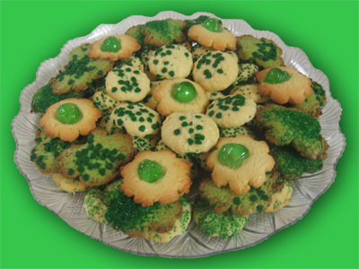 Cookies, assorted, with green decoration